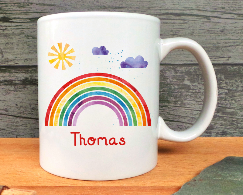 Rainbow Personalised Ceramic Mug Gifting Moon