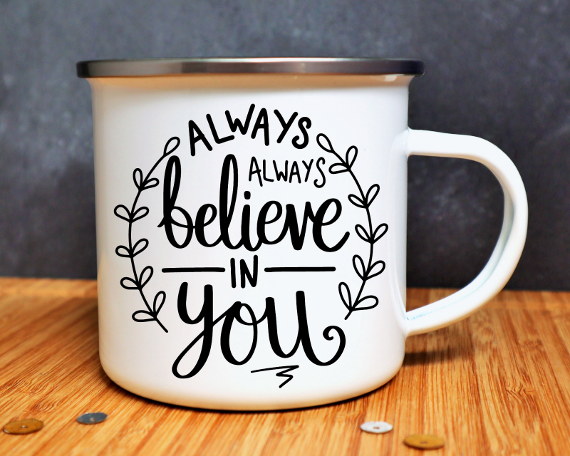Always Always Believe In You Enamel Mug Gifting Moon