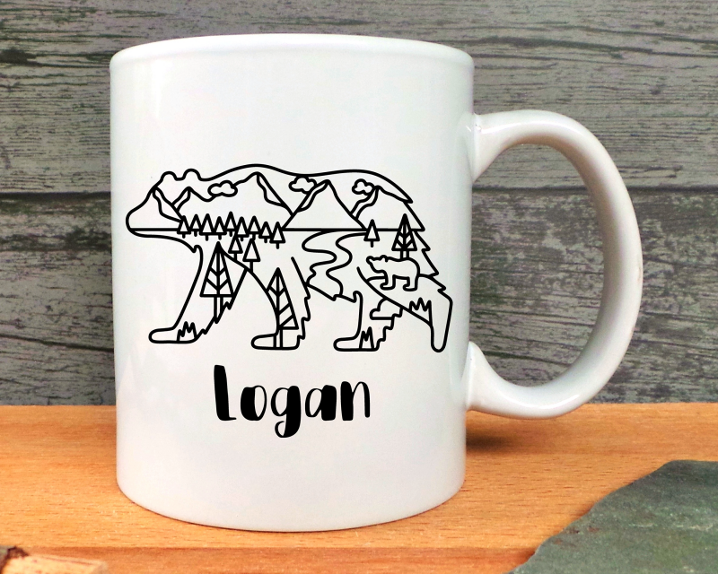 Personalised Bear Ceramic Mug Gifting Moon