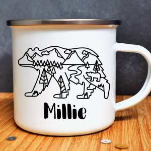 Personalised Bear Enamel Mug Gifting Moon