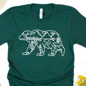 Bear Scenery Outline Green Adult T-Shirt Gifting Moon-JPEG