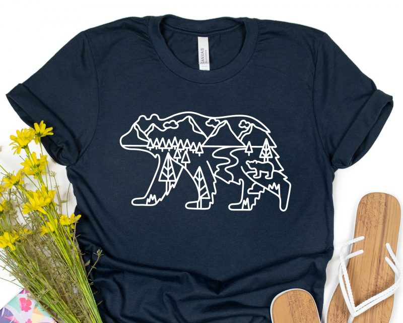 Bear Scenery Outline Navy Adult T-Shirt Gifting Moon JPEG