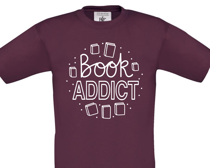 Book Addict Marroon Kids T-Shirt Gifting Moon