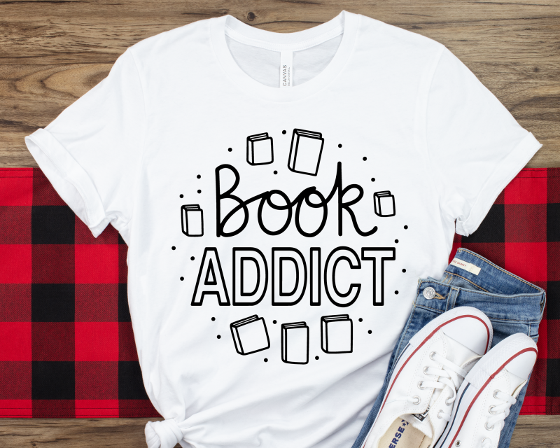 Book Addict White Adult T-Shirt Gifting Moon