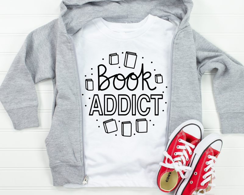 Book Addict White Kids T-Shirt Gifting Moon