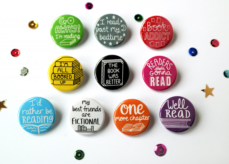 Book Themed Funny Badges Gifting Moon 2