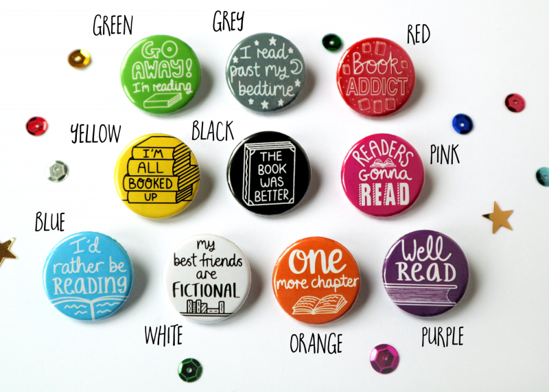Book Themed Funny Badges Gifting Moon 3