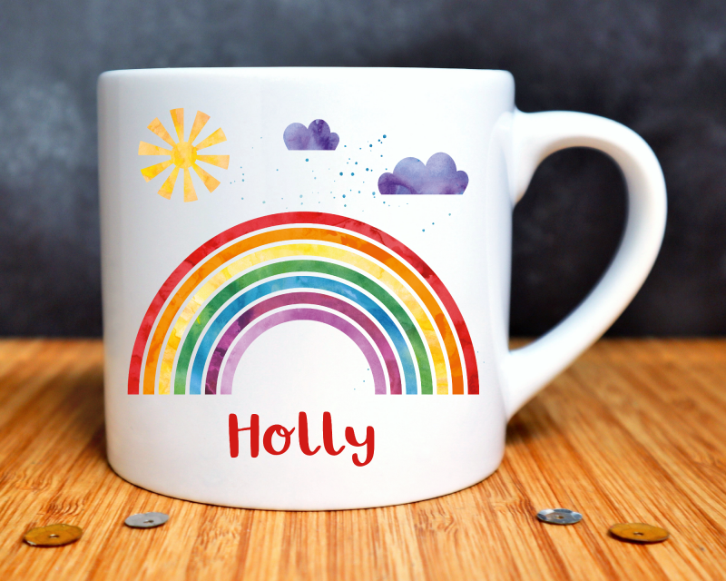 Rainbow Personalised Child's Mug Gifting Moon