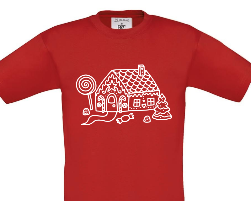 Gingerbread House No Words on Red Child Tee Gifting Moon