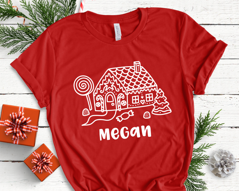 Gingerbread House Personalised on Red Adult Tee Gifting Moon