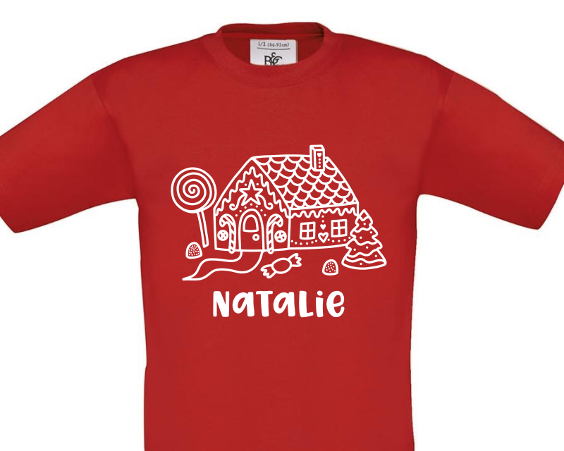 Gingerbread House Personalised on Red Child Tee Gifting Moon