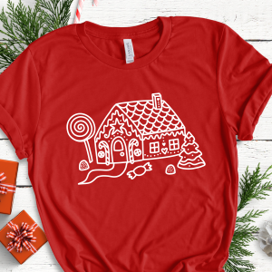 Gingerbread House on Red Adult Tee Gifting Moon-01