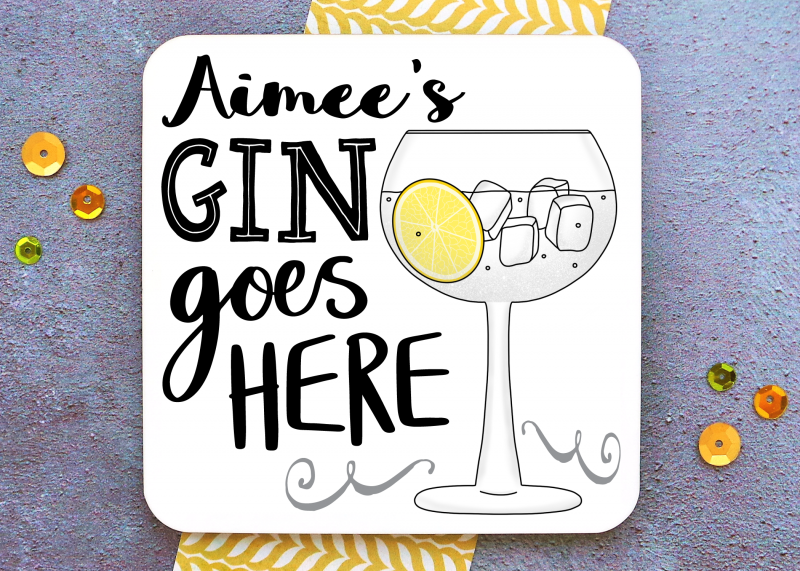 Gin Goes Here Coaster Gifting Moon