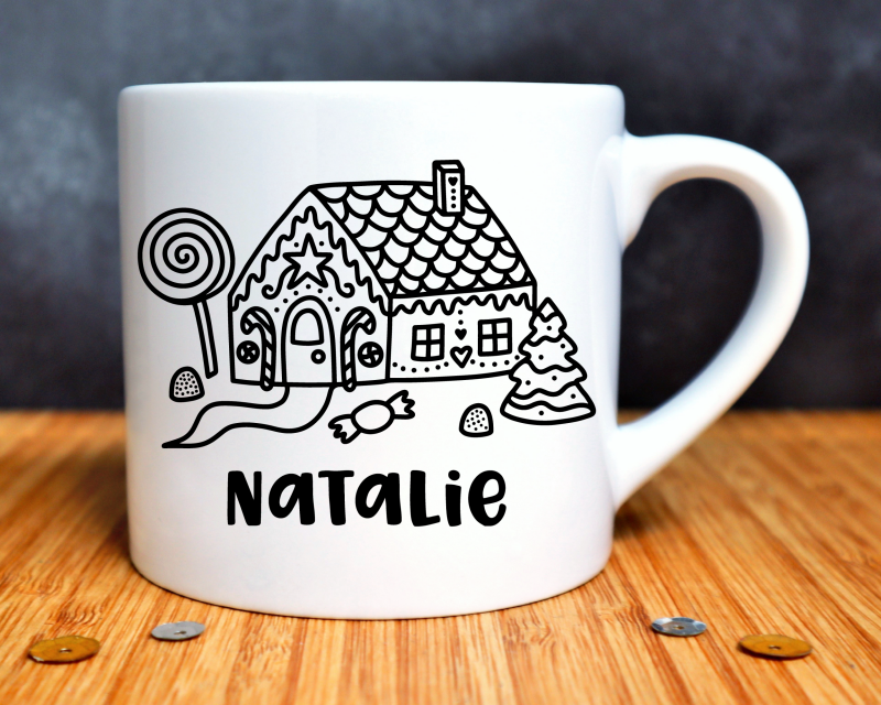 Ginger Bread House Personalised Child's Mug Gifting Moon