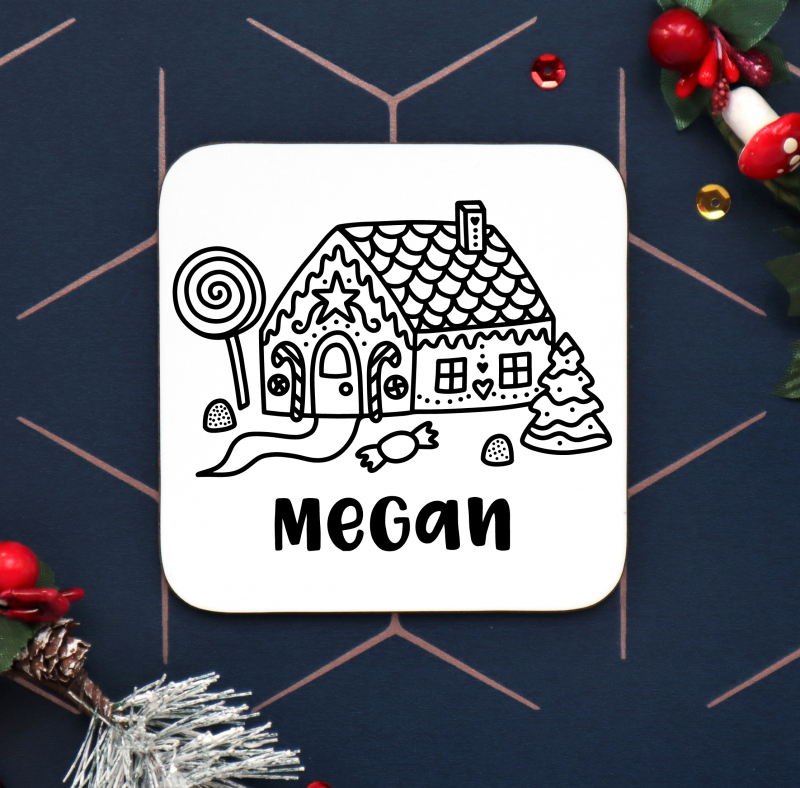 Ginger Bread House Personalised Coaster Gifting Moon New