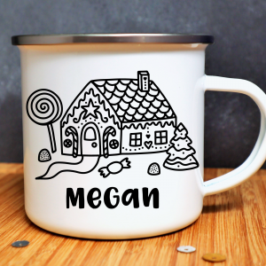Ginger Bread House Personalised Enamel Mug Gifting Moon