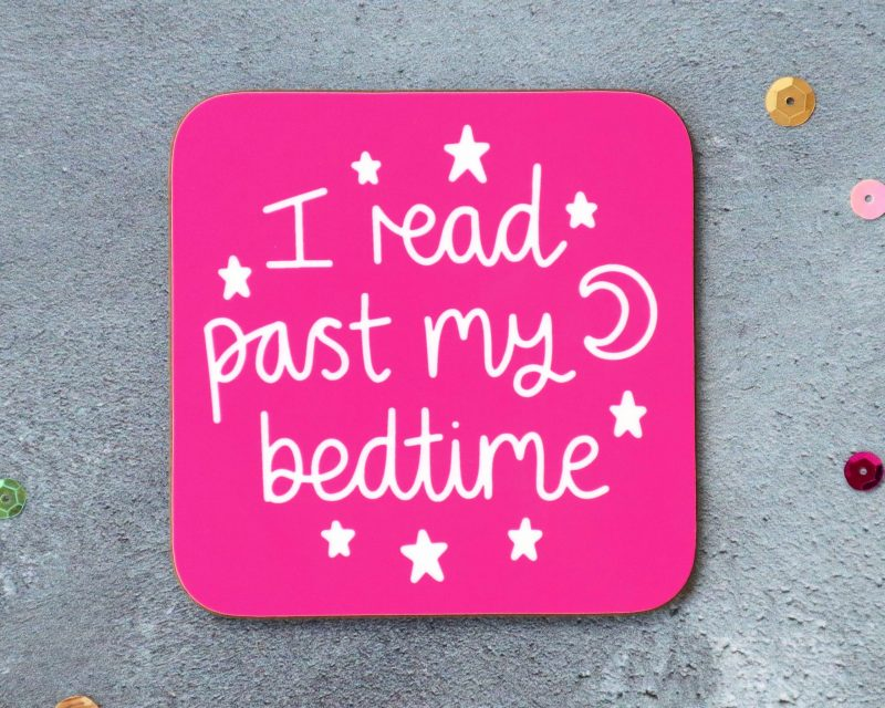 I Read Past My Bedtime Coaster Pink Background Gifting Moon