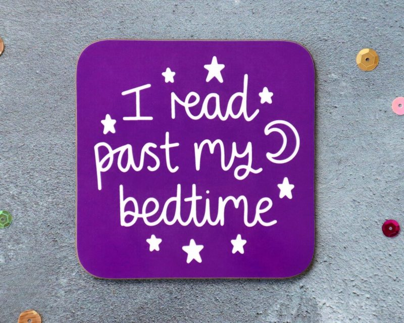 I Read Past My Bedtime Coaster Purple Background Gifting Moon