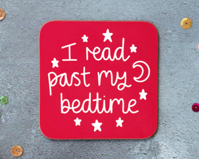 I Read Past My Bedtime Coaster Red Background Gifting Moon