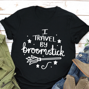 I Travel By Broomstick Square Black T Shirt Gifting Moon