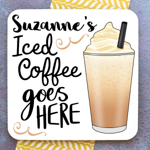 Iced Coffee Personalised Coaster Gifting Moon