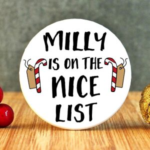 Personalised On The Nice List Badge at Gifting Moon