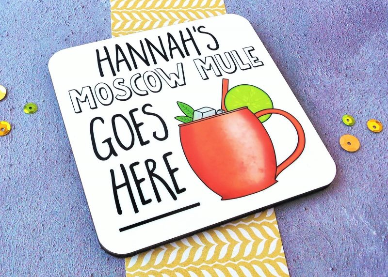 Moscow Mule Coaster Side View Gifting Moon