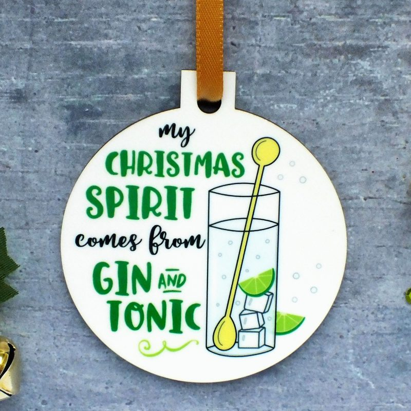 My Christmas Spirit Comes From Gin and Tonic Ornament at Gifting Moon