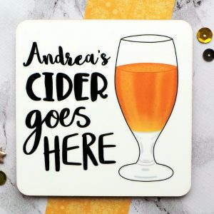 Cider Personalised Coaster Gifting Moon