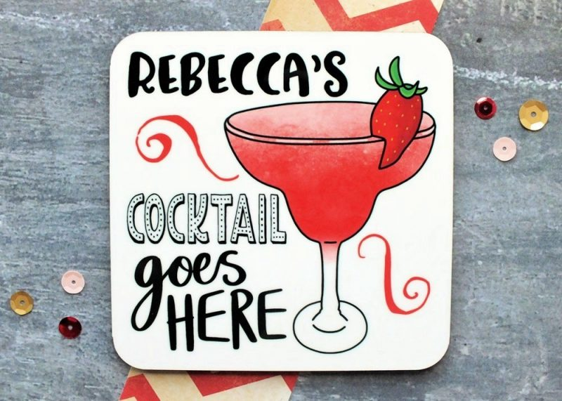Cocktail Personalised Coaster Gifting Moon
