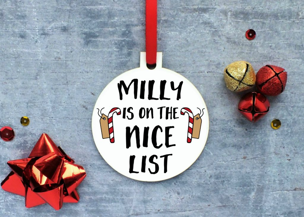 Personalised 'I'm On The Nice List' Ornament Gifting Moon
