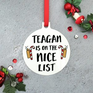 Personalised 'On The Nice List' Christmas Ornament Gifting Moon