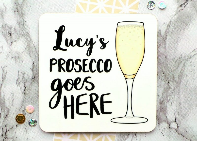 Prosecco Personalised Coaster Gifting Moon