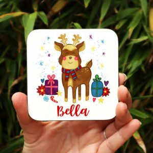 Personalised Reindeer Coaster Gifting Moon