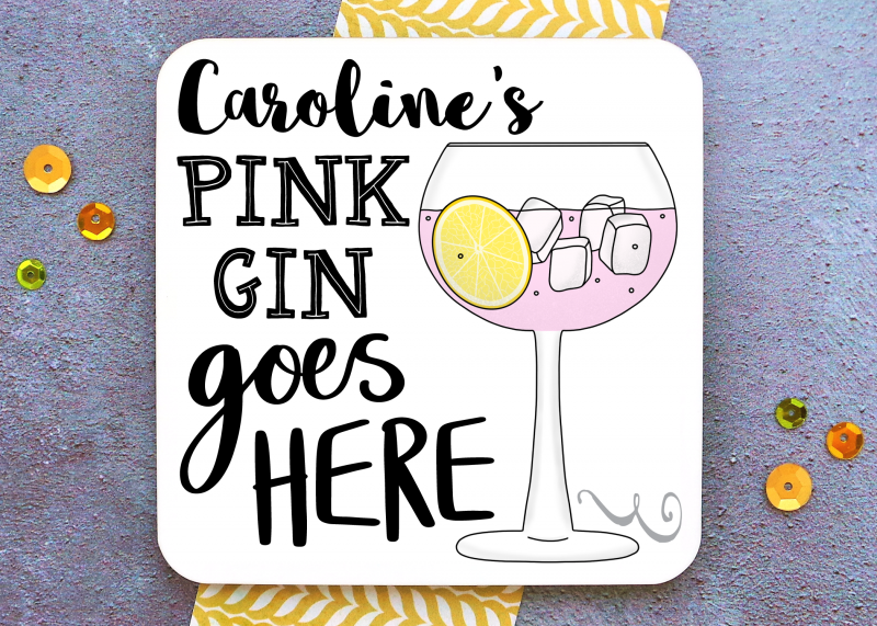 Pink Gin Coaster Gifting Moon