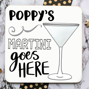 Martini Personalised Coaster Gifting Moon