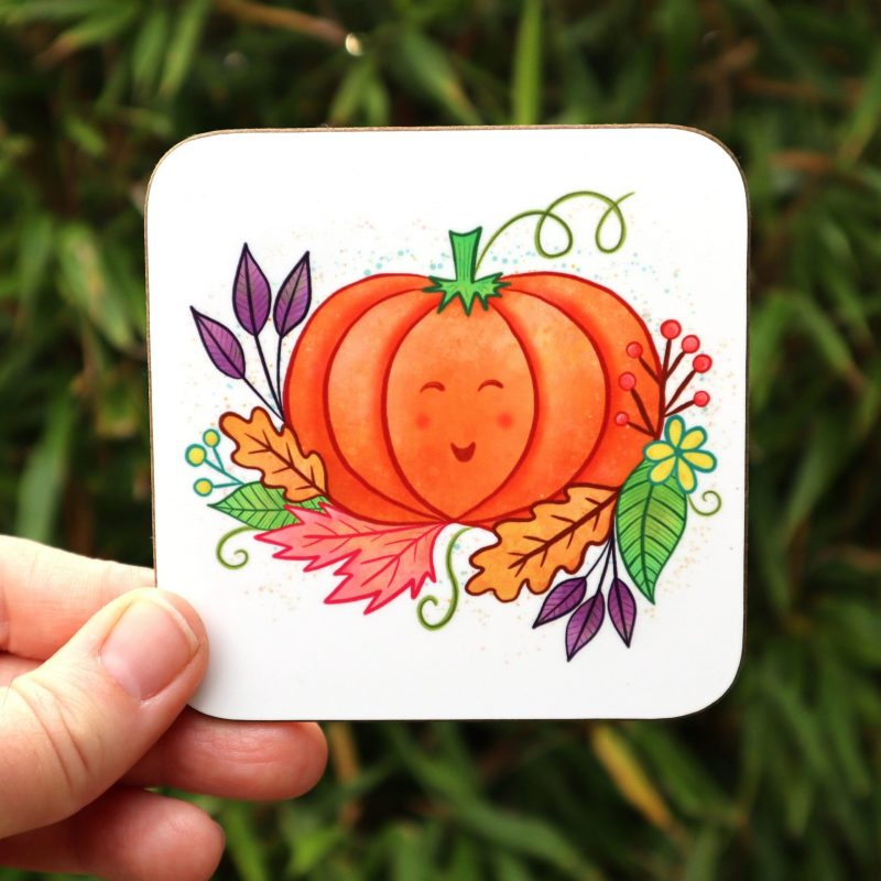 Pumpkin And Leaves Autumn Coaster Gifting Moon