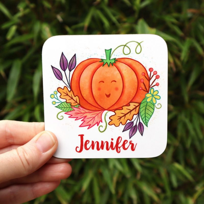Pumpkin And Leaves Personalised Autumn Coaster Gifting Moon