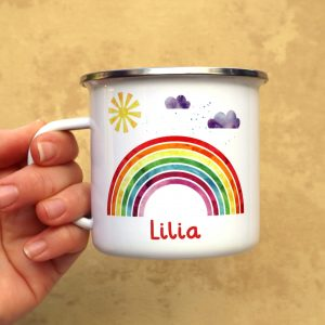 Rainbow Enamel Mug With Name Under Gifting Moon