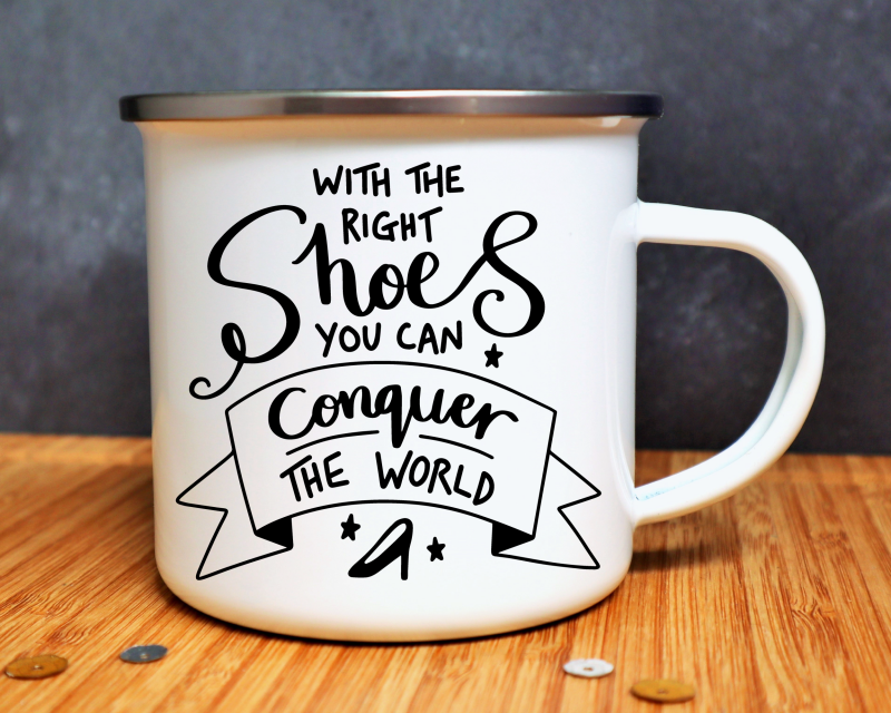 With The Right Shoes Enamel Mug Gifting Moon
