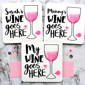 Rosé Wine Personalised Coasters Gifting Moon
