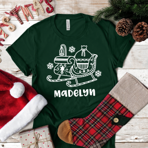 Santa Sleigh Personalised Adult T Shirt Gifting Moon Crop To Square-01