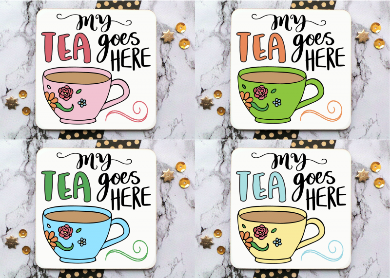 Tea Cup Personalised Coaster Gifting Moon