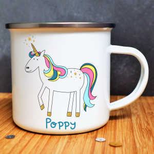 Unicorn Enamel Mug With Name Gifting Moon