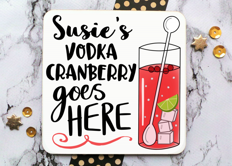 Vodka Cranberry Coaster Gifting Moon