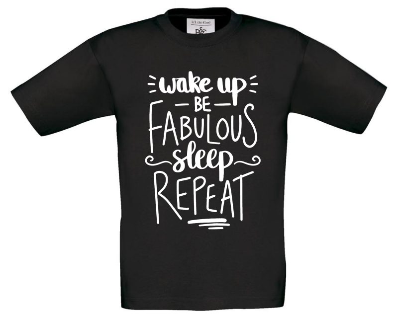 Wake Up Be Fabulous Kids Black T Shirt Gifting Moon