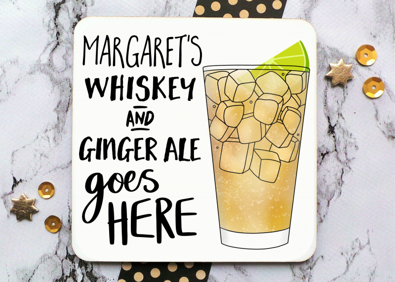 Whiskey And Ginger Ale Tall Glass Coaster Gifting Moon