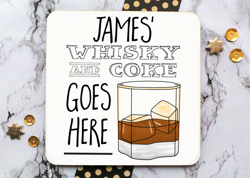 Whisky And Coke Short Glass Coaster Gifting Moon
