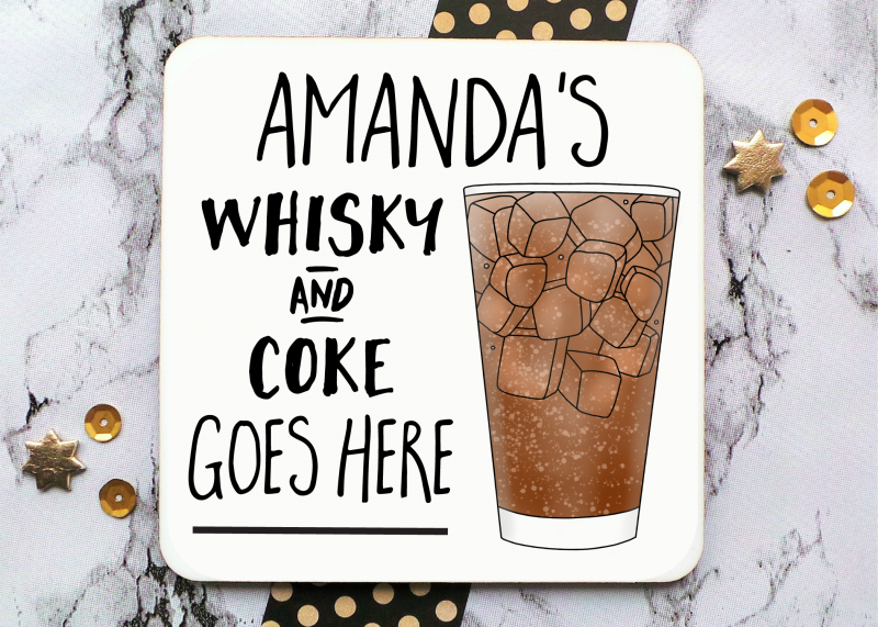 Whisky And Coke Tall Glass Coaster Gifting Moon