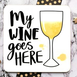 My White Wine Coaster Gifting Moon